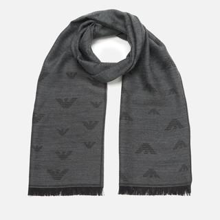 EMPORIO ARMANI 男士logo印花羊毛围巾