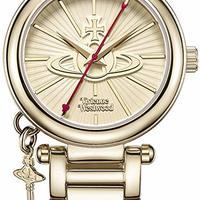 Vivienne Westwood 女式 Kensington II 石英手表带金色指针显示和金色不锈钢手链 VV006KGD