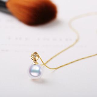 南熙 18K金 海水珍珠吊坠 正圆 南非钻石
