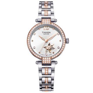天霸专柜同款全自动机械表时尚女士手表女镂空不锈钢镶钻女表6038