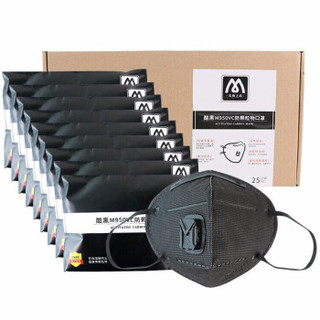 名典上品 活性炭口罩 KN95 防雾霾防尘 M950VC黑色 25只/盒