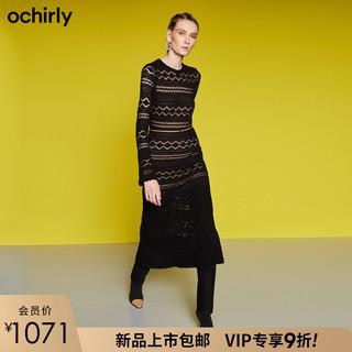 欧时力冬装镂空配腰带针织连衣裙女1ZH4035310