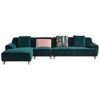 全友家居墨绿色布艺沙发 现代轻奢大小户型客厅整装布沙发102366