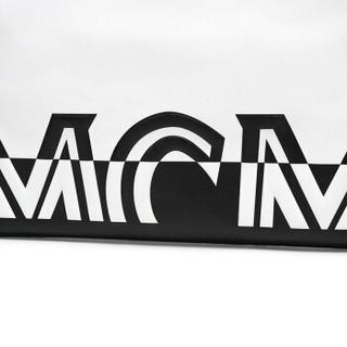MCM 女士白色黑色拼色牛皮中号手拿包化妆包 MZZ9ACL15WT001