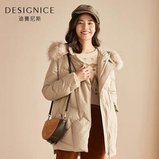 羽绒服女中长款貉子毛大毛领连帽时尚韩版迪赛尼斯