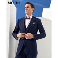 威可多VICUTU商场同款男士纯羊毛套西服上装商务时尚条纹西装VBS18112378 蓝色条纹 175/96B