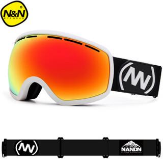 南恩 迷彩镀红膜 儿童滑雪镜