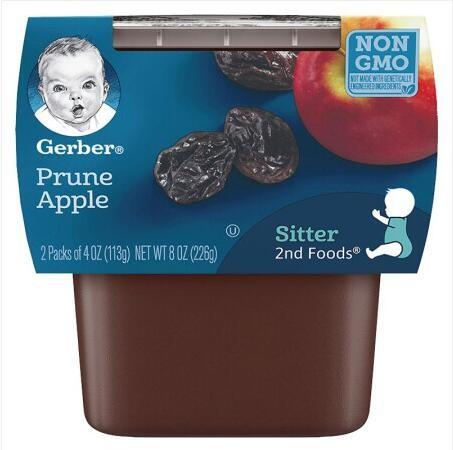 Gerber 嘉宝 婴幼儿辅食苹果西梅泥 二段 113g*2盒/组