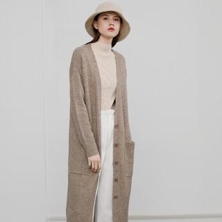 考拉工厂店 女士复古慵懒随性针织长开衫外套