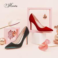 73Hours Gabrielle 秋季红色绿色丝绒浅口细跟高跟鞋女时尚单鞋