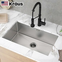 历史低价 : Kraus CKHU100-28 304不锈钢厨房水槽 1.5mm