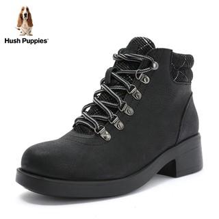 Hush Puppies 暇步士 N1D05DD8 厚底黑色英伦风机车马丁靴女