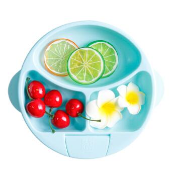 Bumkins 注水保温碗 儿童分格餐盘 宝贝蓝