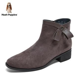 Hush Puppies/暇步士绒面短靴女平底低跟休闲踝靴2019冬U1F05DD9