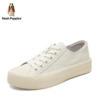 Hush Puppies 暇步士 小白鞋女饼干鞋平底增高系带休闲板鞋