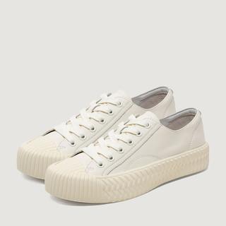 暇步士小白鞋女饼干鞋平底增高系带休闲板鞋2019秋季新款J1D01CM9
