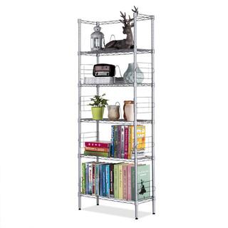 心家宜 金属书架书柜 银灰色五层书架