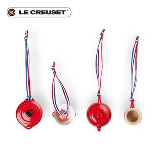 Le Creuset 酷彩 炻瓷圣诞系列圣诞挂件4件套红色