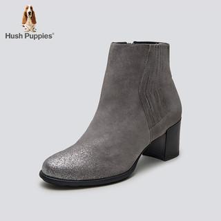 Hush Puppies 暇步士 冬季专柜同款羊皮革粗跟套筒女靴