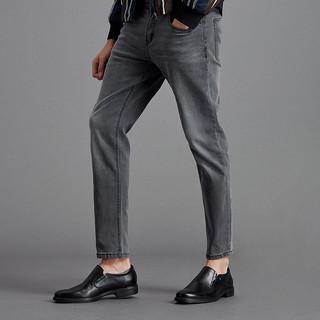 暇步士2019秋新款牛皮革舒适懒人鞋一脚蹬套脚正装皮鞋男B2J06CM9