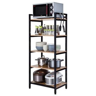 心家宜 厨房置物架钢木 经典黑 60*40*141.5CM 5层
