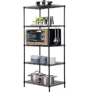 心家宜 厨房置物架五层加宽 黑色 50*40*150CM