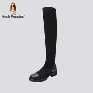 张嘉倪同款暇步士过膝长靴女英伦风粗跟黑色显瘦弹力靴D1U03DC9