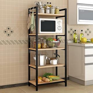 心家宜 厨房置物架 五层 白色+胡桃色 60长*40宽*140高