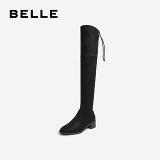 BeLLE 百丽 弹力布女过膝长靴 U7E1DDC9 黑色 37