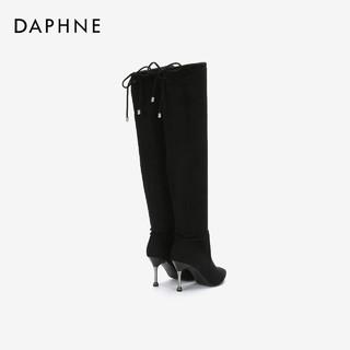 DAPHNE 达芙妮 蝴蝶结绑带过膝长筒靴女 黑色 39