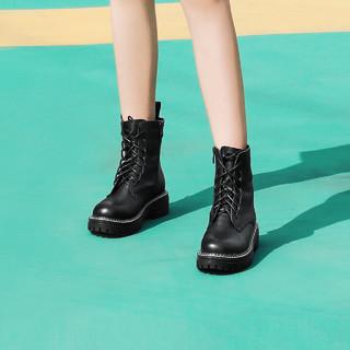 BeLLE 百丽 马丁靴女短靴 90321DD9 黑色 39