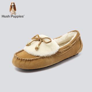 Hush Puppies 暇步士 专柜同款毛里豆豆鞋女舒适乐福鞋