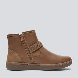 暇步士2019冬新款时尚品牌真皮带扣平底坡跟粗跟短靴子女