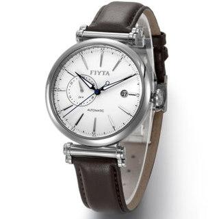 FIYTA 飞亚达 男 机械表 日历钢带防水男士手表 自动机械腕表 皮带白盘 GA850002.WWR