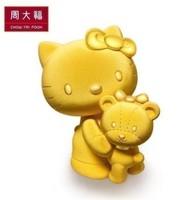 臻选CTF 周大福Hello Kitty凯蒂猫小熊黄金摆件R12730精选