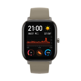 AMAZFIT 华米 GTS系列 A1913 智能手表 43.25mm 钛金属  硅胶皮带 (ECG、GPS、北斗、扬声器、温度计)