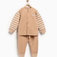 童泰秋冬婴儿加厚立领套装6-24个月宝宝保暖内衣 深棕 80cm(12-18个月)