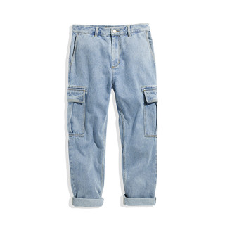 PEACEBIRD 太平鸟 B2HA94578 新款浅蓝色工装直筒牛仔裤 蓝色 S