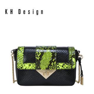 KH Design 明治 2019新款头层牛皮斜挎包蛇纹