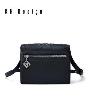 KH Design 明治 真皮菱形铆钉锁扣撞色单肩斜挎包牛皮