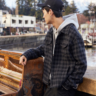 太平鸟男装羊毛呢夹克2019春季潮流格纹翻领夹克男士毛呢工装外套