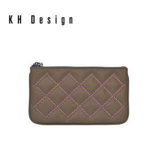 KH Design 明治 2018新款时尚真皮手拿包刺绣菱格手抓包小包包