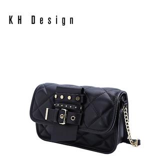 KH Design 明治 菱格小方包真皮斜挎包
