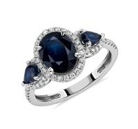 Blue Nile 14k白金藍寶石與鉆石光環三石戒指