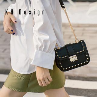 KHDesign明治女包小方包个性铆钉斜挎包2019新款单肩包