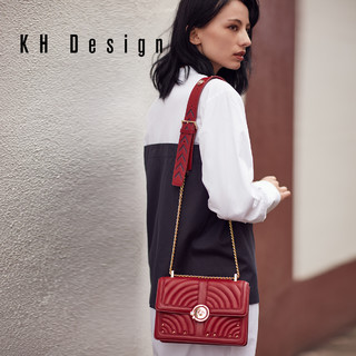 KH Design明治女包真皮锁扣斜挎包商场同款车线小方包