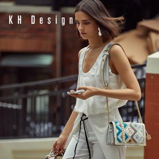 KHDesign明治女包时尚斜挎包刺绣真皮包大容量单肩包2019新款