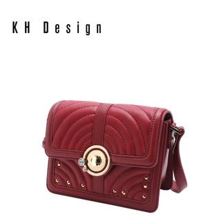 KH Design明治女包真皮锁扣斜挎包商场同款车线小方包牛皮单肩包