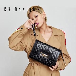 KHDesign明治女包专柜同款经典菱格斜跨包锁扣包真皮单肩包