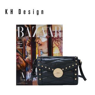 KH Design 明治 铆钉菱格圆锁斜挎包
